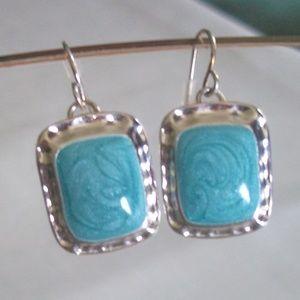 Sterling Silver Turquoise Swirl Enamel Earrings